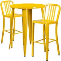 Brimmes 3pcs Round 30'' Yellow Metal Table w/2 Vertical Slat Back Barstool