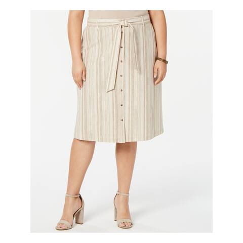 BAR III Womens Beige Striped Midi A-Line Skirt Size 14W