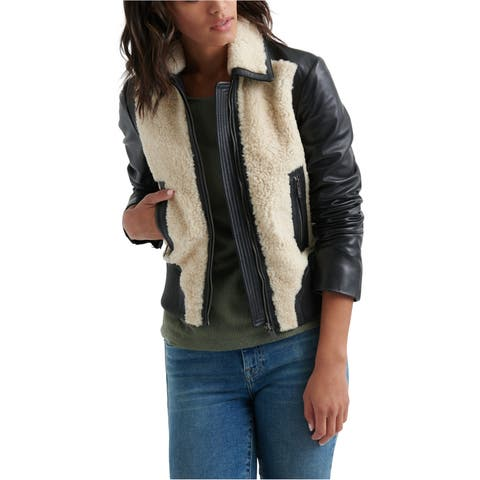 Lucky Brand Womens Sherling Leather Jacket