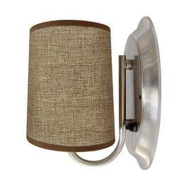 LED 12Volt Brown Fabric Wall Sconce Flared Shade RV Caravan Boat Porch Hallway Bedroom Indoor Decor Lamp Warm White