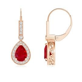 Vintage Inspired Pear Shaped Ruby Leverback Earrings