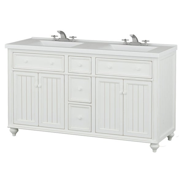 Sagehill Designs Cr6021dn Designer White Cottage Retreat 60 Bathroom Vanity Cabinet Only With 3 Drawers