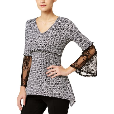 NY Collection Womens Blouse Printed Lace Sleeves