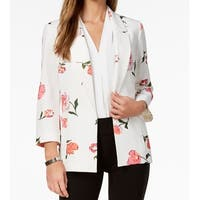 Nine West White Womens Size Large L Floral Crepe Open Front Jacket