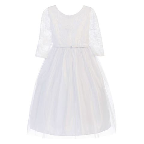 Sweet Kids Girls White Lace See-Through Sleeve Stylish Easter Dress