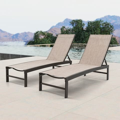 """Crestlive Adjustable Aluminum Chaise Lounge Chairs (Set of 2) - 75.79"""" L x 24.61"""" W x 13"""" H"""