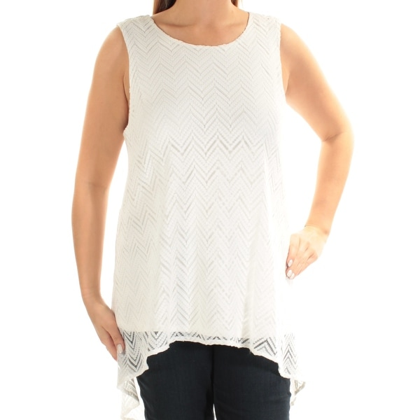 be3290c1 Shop VINCE CAMUTO Womens Ivory Sleeveless Scoop Neck Top Size: L - On Sale  - Free Shipping On Orders Over $45 - Overstock.com - 23453102