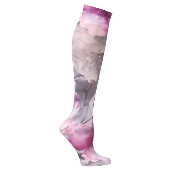Celeste Stein Moderate Compression Knee High Stockings Wide Calf-Magenta Flowers - Medium