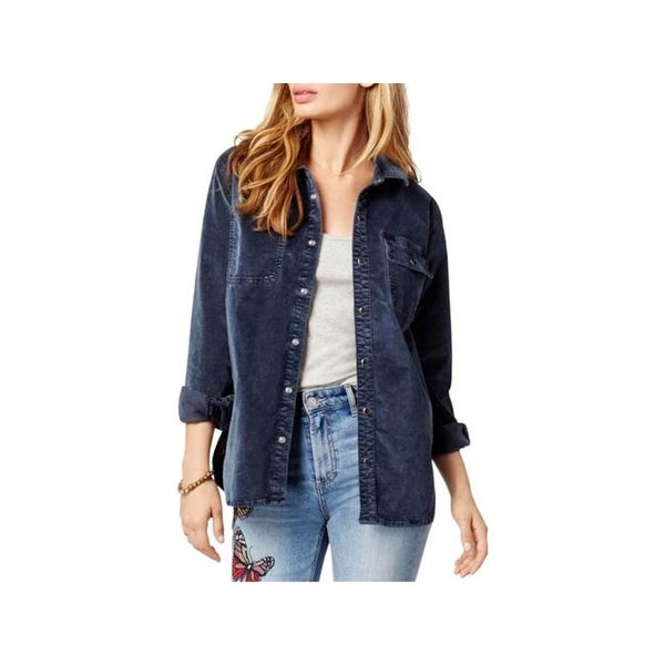 Lucky Brand Womens Button-Down Top Velour Jacket