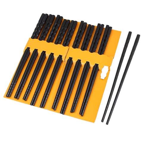 Unique Bargains Plastic Kitchen Dishware Nonslip Chopsticks 10 Pairs Black