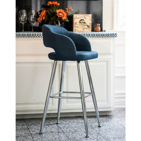 Brage Living Miramar Contemporary Blue Fabric Barstool with Chrome Metal Legs