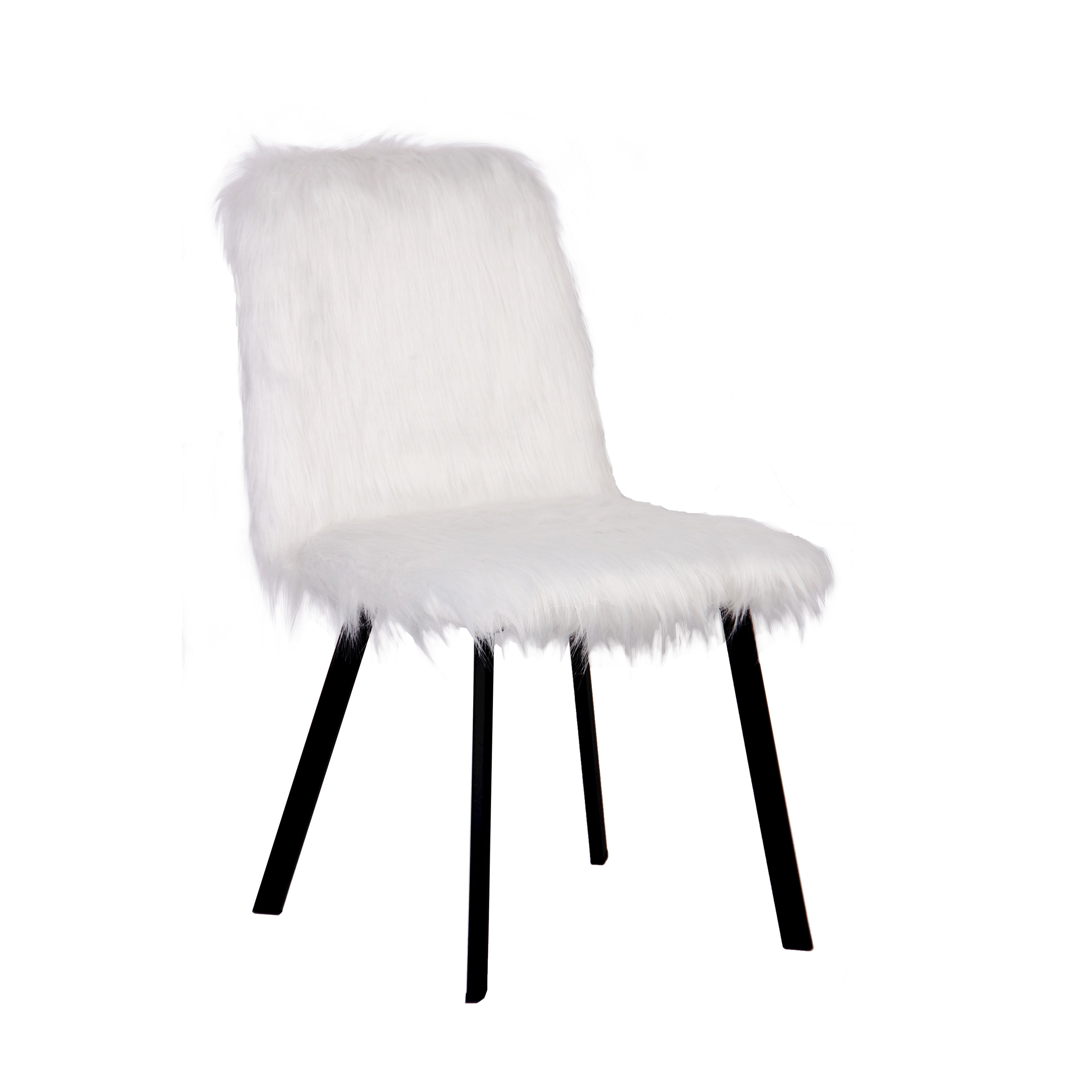 Image of: Shop Black Friday Deals On Ace Casual Furniture Linnea Wooden Desk Chair With Faux Fur Seat Cover White And Black On Sale Overstock 32035187