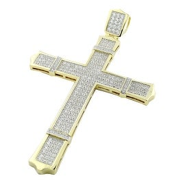 Cross Pendant Large 69mm Yellow Gold Tone Silver Pave Set Mens Cross Charm By MidwestJewellery