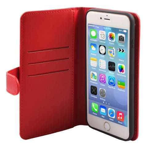 Cell Phone Faux Leather Zippered Wallet Magnetic Flip Case Red for iphone 6