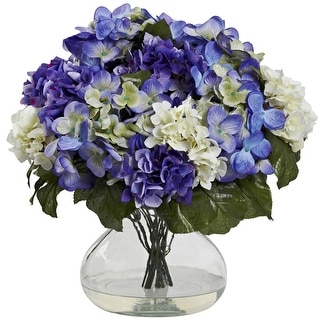 Nearly Natural Hydrangea with Large Vase Arrangement