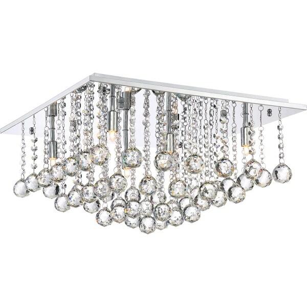 "Platinum BRX1620 Bordeaux 6 Light 20"" Wide Flush Mount Ceiling Fixture with Crystal Accents"