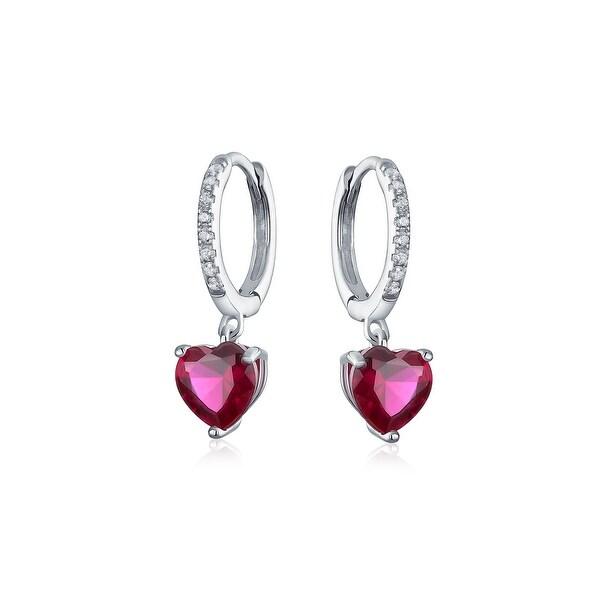b0c4a4b84281c Fuchsia CZ Pink Heart Huggie Hoop Leverback Earrings For Women Girlfriend  Cubic Zirconia Imitation Ruby Sterling Silver