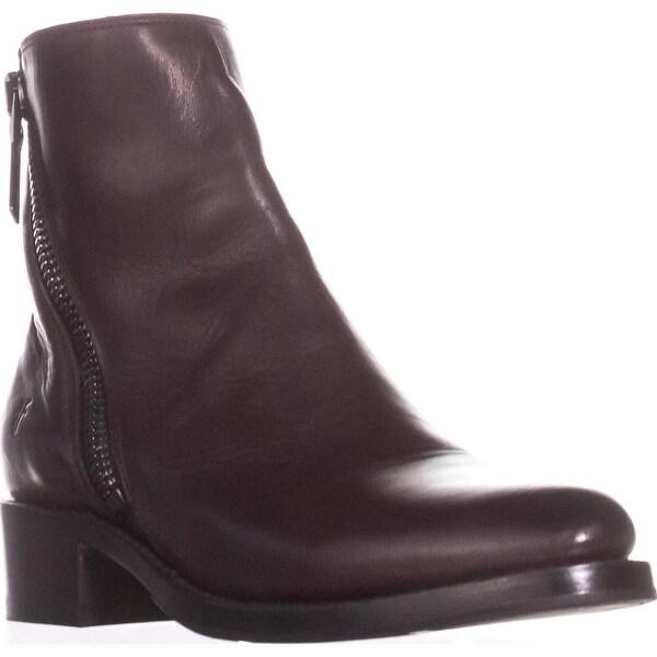 FRYE Demi Zip Bootie Mid-Calf Boots, Wine - 7 us