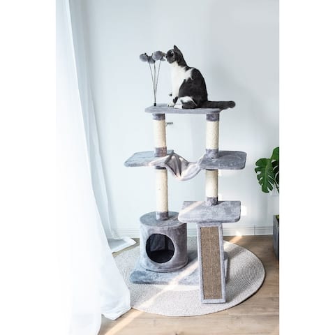 Catry Four-Level Cat Tree Condo Gray with Natural Sisal Scratching Posts, Teasing Toys, Scratching Cardboard