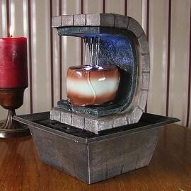Sunnydaze Meditation Tabletop Fountain with LED Lights, 10 Inch Tall