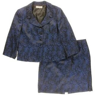 Tahari ASL Womens Plus 2PC Jacquard Skirt Suit - 18