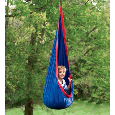 HearthSong HugglePod Indoor/Outdoor Canvas Hanging Chair - Blue - One Size - One Size