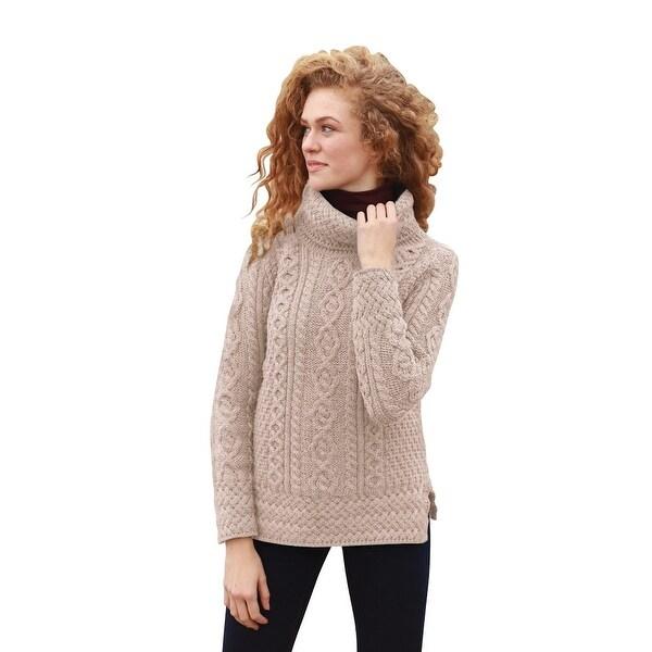Women's Tunic Sweater - Cowl Neck Aran Knit Top - Free Shipping ...