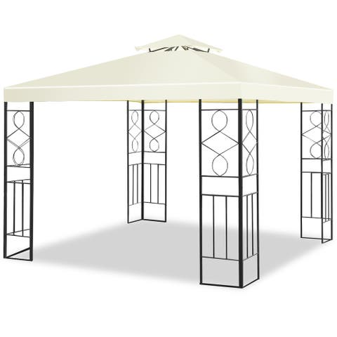 Costway 2 Tier 10'x10' Patio Gazebo Canopy Tent Steel Frame Shelter Awning - Beige