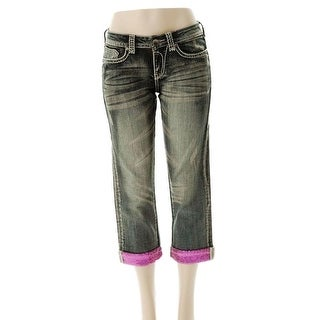 Cowgirl Tuff Western Capri Womens Pink Sparkle Medium Wash JPINKC