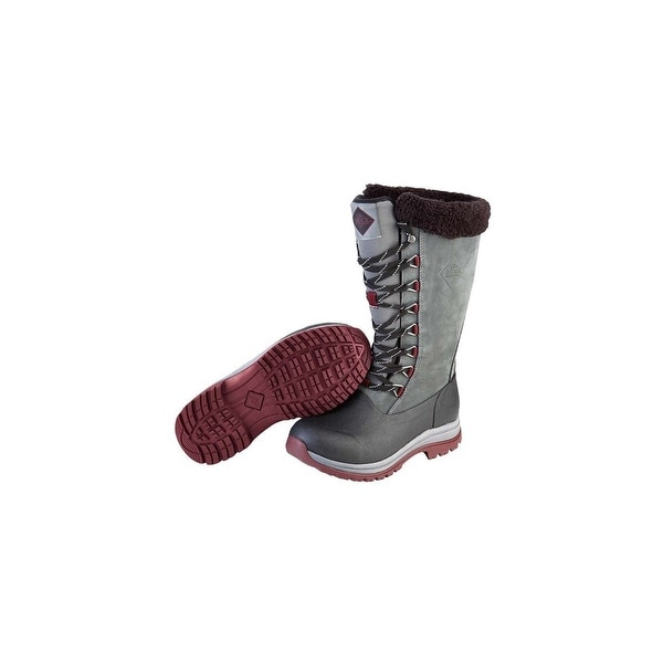 Muck Boots Gray/Wine Women's Arctic Apres Lace Tall Boot - Size 9