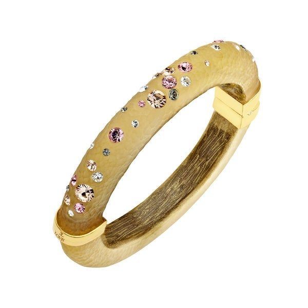 Love Universe Golden Sand Lucite Bangle Bracelet with Multi-Color Swarovski Crystals in 14K Gold-Plated Sterling Silver