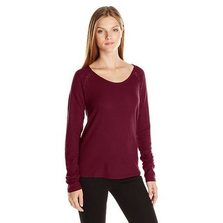 Lucky Brand Ribbed Embroidered Thermal Tee - m