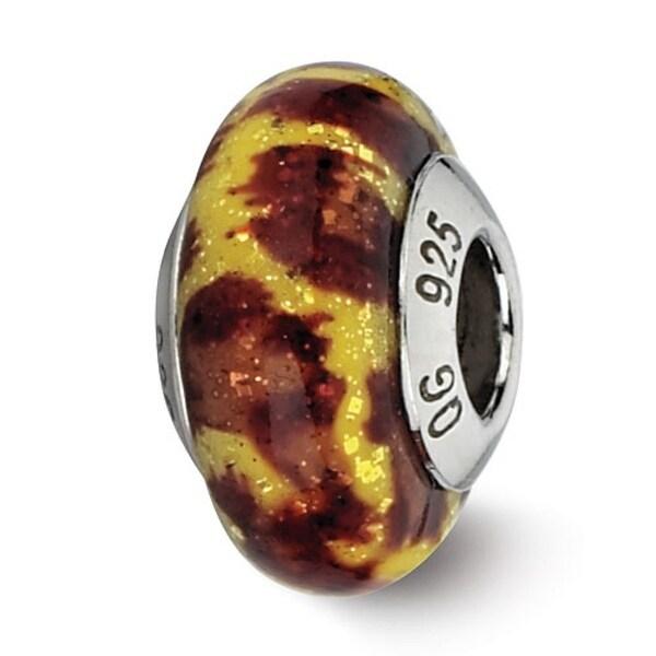 Italian Sterling Silver Reflections Yellow Jaguar Glitter Overlay Glass Bead (4mm Diameter Hole)