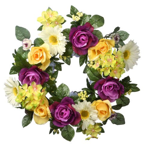 Purple and Yellow Flower Decorated Artificial Wreath - 18-Inch, Unlit