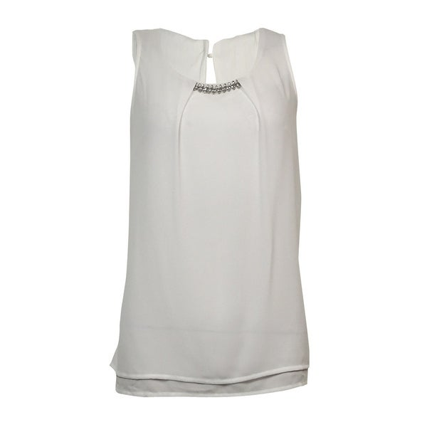 NY Collection Women's Embellished Pleated Crepe Top