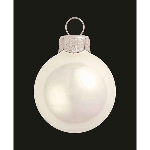 "8ct Pearl Polar White Glass Ball Christmas Ornaments 3.25"" (80mm)"