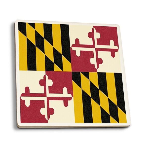 MD State Flag - Letterpress - LP Artwork (Set of 4 Ceramic Coasters)