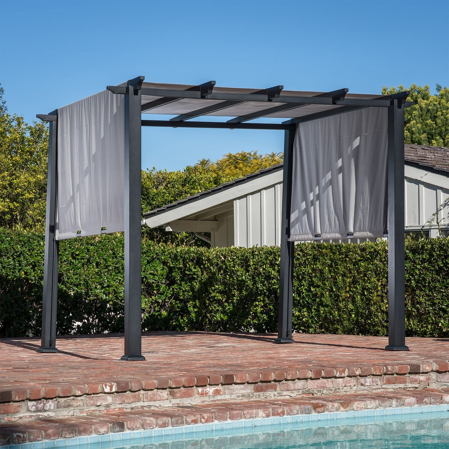 Hanover 8 X 10 Ft Metal Pergola With An Adjustable Gray Canopy Overstock 27385898