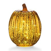 """Mercury Glass 7.7"""" Battery Operated LED Pumpkin Lights with Timer, Good for Holiday Decoration(Gold)"""