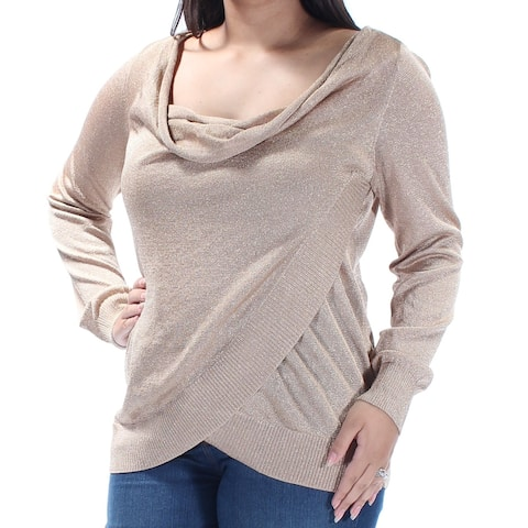 INC Womens Gold Long Sleeve Faux Wrap Wear To Work Top Size L