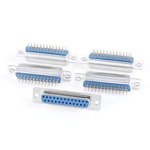 DB-25 VGA 2 Row Straight D-Sub PCB Mounting Connector Female Plug 5 Pcs