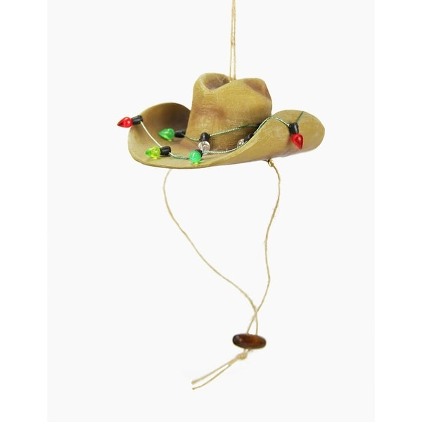 """4"""" Brown Cowboy Hat with Decorative Light Accent Christmas Ornament"""