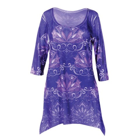 611a00273ea Buy Purple 3/4 Sleeve Shirts Online at Overstock   Our Best Tops Deals