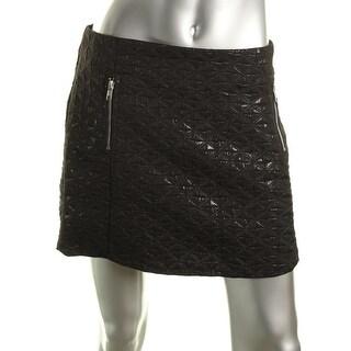 Aqua Womens Shimmer Textured Mini Skirt - L