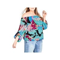 City Chic Womens Plus Pullover Top Printed Off-The-Shoulders - 20