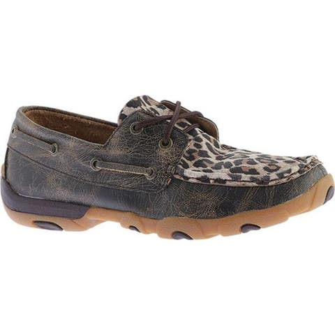 Twisted X Boots Women's WDM0057 Boat Shoe Distressed/Leopard Leather