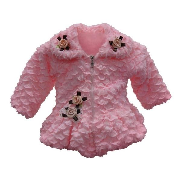 Little Girls Pink Faux Floral Embellishment Zipper Closure Coat 2T-4T