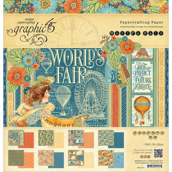 "Graphic 45 Double-Sided Paper Pad 12""X12"" 24/Pkg-World's Fair, 8 Designs/3 Each"