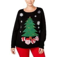 Karen Scott Womens Plus Holiday Pullover Sweater Embellished Tree