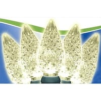 Faceted Warm White LED C6 Christmas Lights - Green Wire, Set Of